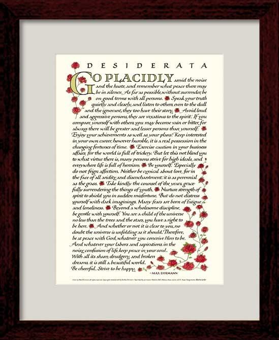 Desiderata Poem - Max Ehrmann - Desiderata 8x10 framed