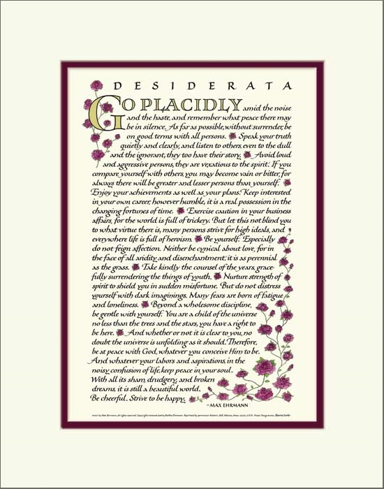 photo relating to Desiderata Printable titled Desiderata Poem 12x16 double mat