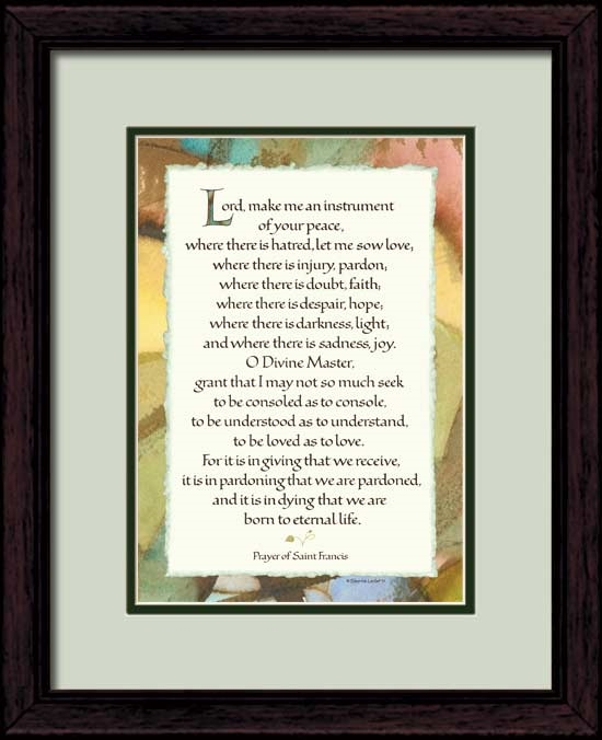 image regarding St Francis Prayer Printable titled St Francis Prayer framed 11x14