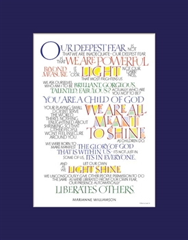 Our Greatest Fear By Marianne Williamson Print