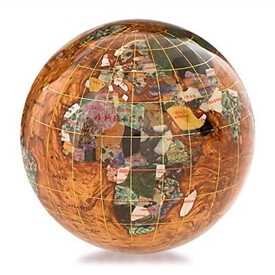 4-inch Copper Amber Gemstone Globe Paperweight