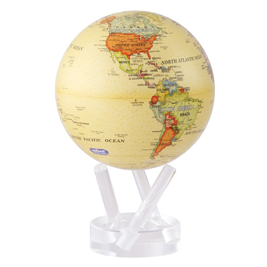 "4.5"" Antique Beige Revolving Globe"