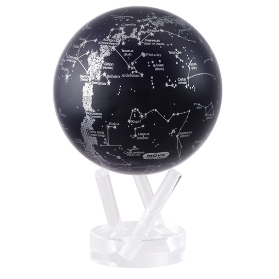 "4.5"" Silver Constellation in Blue Revolving Globe"