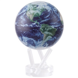 "4.5"" Earth View w/ Cloud Cover Revolving Globe"