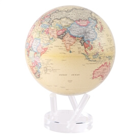 "8.5"" Antique Beige Revolving Globe"