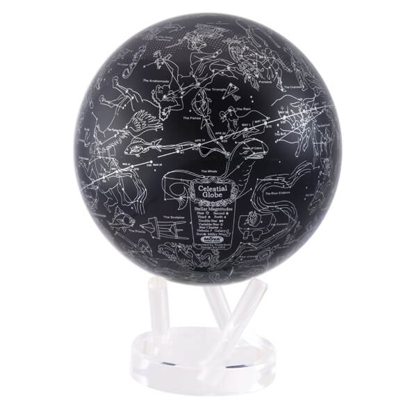 mova 8 5 inch silver constellation in blue revolving globe