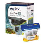 Aqueon QuietFlow 10 Internal Shrimp Filter w/ 6 Pack of Replacement Filter Cartridges Package