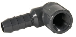 "Schedule 40 PVC Elbow Insert Adapters 1/2"" FPT x 3/4"" Hose Barb"