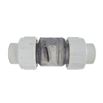 "Check Valve 1-1/2"" Clear w/ slip unions"