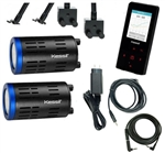 Kessil TWO A160 Tuna Blue LED Lights with NEW Spectral Controller X & TWO Gooseneck Package