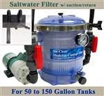 Saltwater 50 to 150 Gallon Tank Filter, Pump, Suction/Return & Plumbing Package