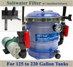 Saltwater 125 to 220 Gallon Tank Filter, Pump, Suction/Return & Plumbing Package