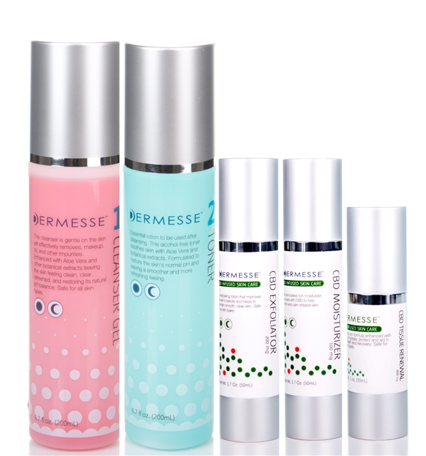 Full Set (NON-CBD Cleanser and Toner with CBD Exfoliator, Moisturizer, Tissue Renewal)