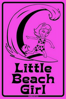 12x18 Aluminum surf sign that says Little Beach Girl. This quality and sturdy metal poster sign is brand new, durable and made of heavy gauge aluminum that will last for many years to come. Great for hanging outside as well as inside. A great way to...