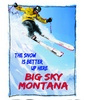 11x13 Aluminum sign that says The Snow Is Better Up Here Big Sky Montana. This quality and sturdy metal poster sign is brand new, durable and made of heavy gauge aluminum that will last for many years to come. Great for hanging outside as well as...