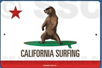 Classic California Bear Surfing Sign. This quality and sturdy metal poster sign is brand new, durable and made of heavy gauge aluminum that will last for many years to come. Great for hanging outside as well as inside. 12x18 Aluminum