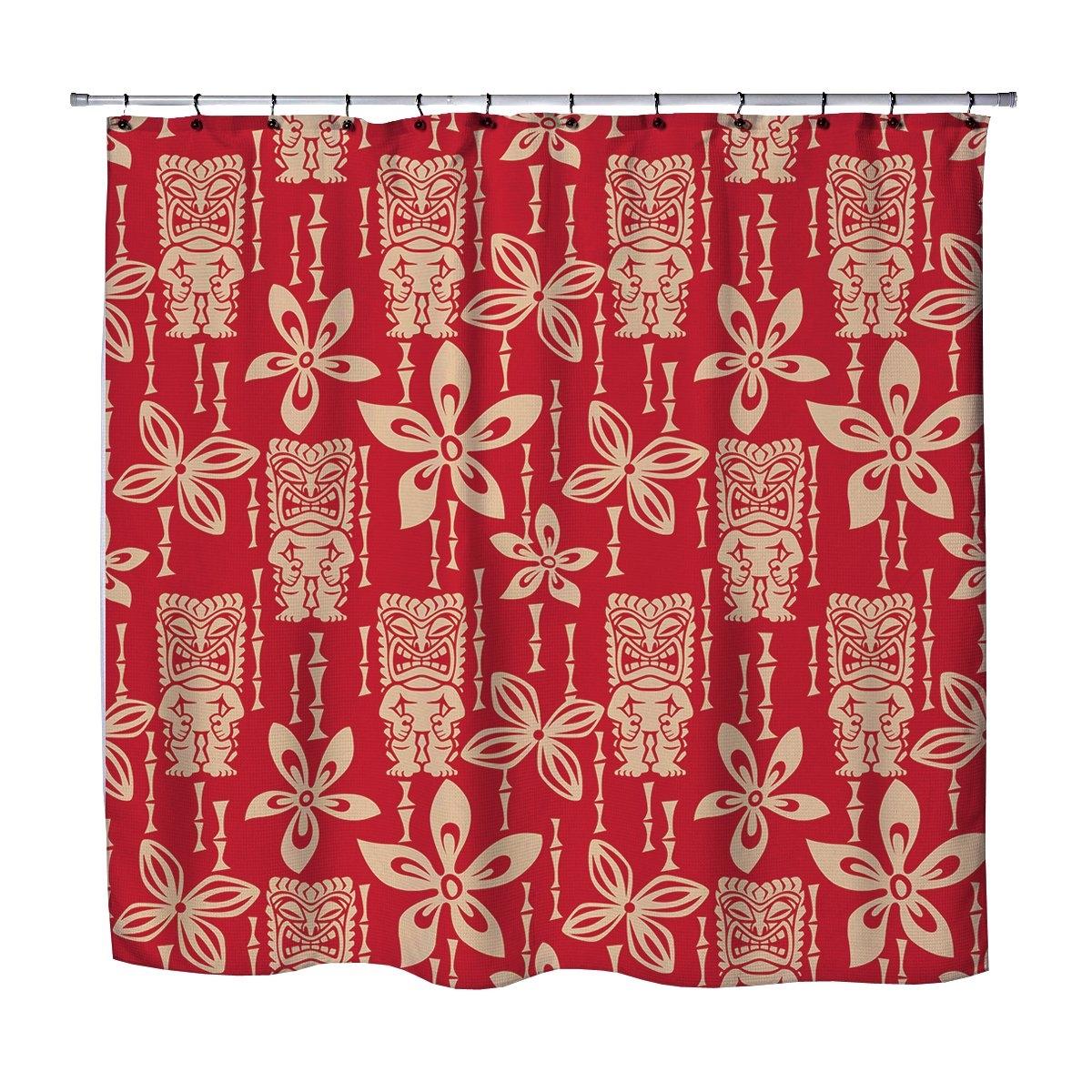 Tiki Shawiian Surf Tropical Red Shower Curtain