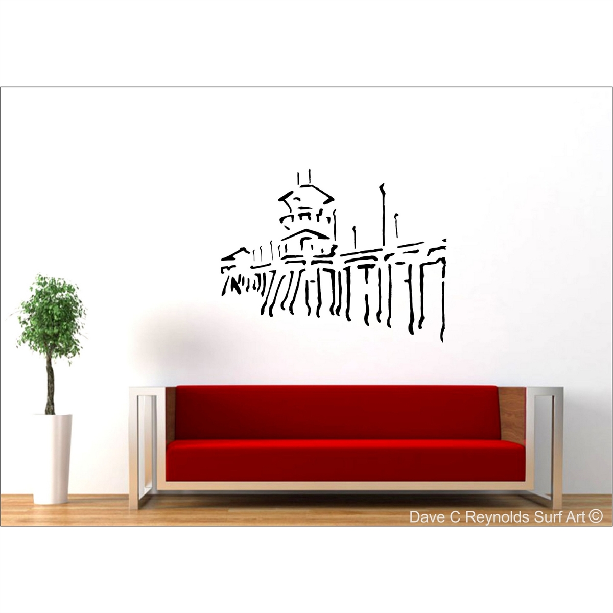 Huntington beach pier vinyl wall decal art amipublicfo Gallery