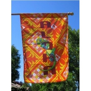 "Aloha means ""hello, goodbye, love, or love to you."" It is a word that represents Hawaii and the Hawaiian spirit well. This flag features a pineapple Hawaiian quilt block with a palaka print to honor the histoy of one of Hawaii's traditional crops -..."