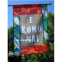 "E Komo Mai (ee komo my) means ""Welcome/Come Inside,"" and can be seen on signs outside many stores and businesses in Hawaii. This aloha print is inspired by hibiscus and leaf patterns. On top of the aloha print is a lauhala mat, like you would see..."