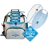 "The ""All Set"" gift set includes:  The Ultimate Diaperbag/Backpack in Grey/Blue. A blue Surfboard Bib and Burp Cloth Set A blue ""Surfer Baby on Board"" sticker. Getting all set to take care of your little Surfer Baby has..."