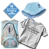 "The ""Fun in the Sun"" gift set for a boy includes a Blue Floppy Hat, a T- Shirt with either ""My daddy surfs better than your daddy"" ,""my mommy surfs better than your mommy""or "" it's always overhead to me"", a Surfer Baby On Board Sticker, and a Blue..."