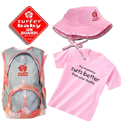 "The ""Surf Kid"" gift set for a girl includes a pink trimmed Floppy Hat, a T- Shirt with either ""My daddy surfs better than your daddy"" ,""my mommy surfs better than your mommy""or "" it's always overhead to me"", a Surfer Baby On Board Sticker, and a Pink..."