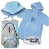 "The ""Go to the Beach"" gift set for a boy includes a Blue Floppy Hat, a Blue Surfer Baby Changing Towel, a Surfers Rule sticker, and a Blue Kids Backpack...."