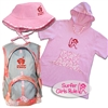 "The ""Go to the Beach"" gift set for a girl includes a Pink Floppy Hat, a Pink Surfer Baby Changing Towel, a Surfer Girls Rule sticker, and a Pink Kids Backpack...."