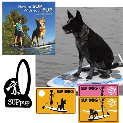 "The How To SUP with your Pup Book, Pup Deck, Sign & Sticker Gift Set. The PUP Deck, in your choice of design: Paw Prints (Large Paws) or Solid (w/Small Cutout Prints), The ""How to SUP with your Pup"" book by Maria Christina..."