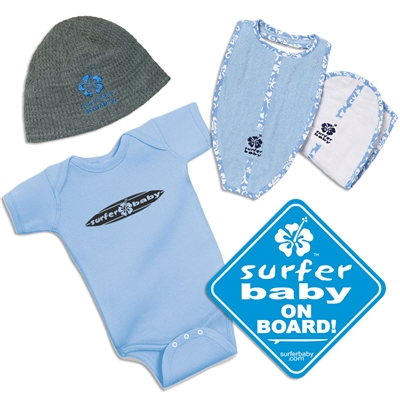 """New Kid in the Lineup"" Surfer Baby Gift Pack in blue consists of a blue Surfer Baby 100% cotton onesie, our blue logo Surfer Baby beanie, 100% cotton Surfboard Shaped Bib and Burp Set in blue, and a blue Surfer Baby on Board sticker. The sizes are..."