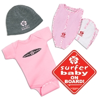 """New Kid in the Lineup"" Surfer Baby Gift Pack in pink consists of a pink Surfer Baby 100% cotton onesie, our pink logo Surfer Baby beanie, 100% cotton Surfboard Shaped Bib and Burp Set in pink, and a red Surfer Baby on Board sticker. The..."