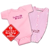 "The ""Surfers Drule"" Surfer Baby Gift Pack in pink comes with a pink Surfers Drule 100% cotton onesie/bodysuit, a matching pink surfboard shaped Surfers Drule 100% cotton terry oversized bib, and the red Surfer Baby on Board sticker. Choose..."