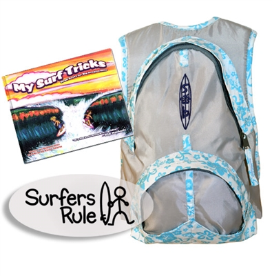 "Send your little grom off right with ""The Take Off"" Surfer Baby Gift Pack in blue. Included is a blue kids backpack, a Surfers Rule sticker, and a children's surf book! Choose from these hardcover surf children's books: My..."