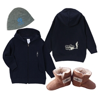 "The ""Winter Infant"" gift set for a boy includes a blue logo beanie either fleece lined or unlined, a Surfer Dude zip up hoody sweatshirt in your choice of sizes: 6 mos., 12 mos., or 18 mos., and a pair of Surfer Baby sheepskin booties (bootie sizing..."