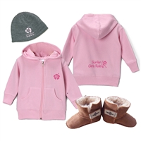 "The ""Winter Infant"" gift set for a girl includes a pink logo beanie either fleece lined or unlined, a Surfer Girls Rule zip up hoody sweatshirt in your choice of sizes: 6 mos., 12 mos., or 18 mos., and a pair of Surfer Baby sheepskin booties (bootie..."