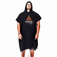 The KOMUNITY  plush towel poncho makes changing in public easy.>>Plush 100 % cotton material>Generous fit>One size fits all>Kelly Slater Signature>Color: Black w/orange Komunity logo...