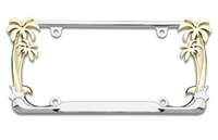 Chrome Palm Tree License Plate Frame . Show your tropical side! This classy looking license plate frame features palm trees on both sides on a chrome plated, zinc die cast frame.   4 Hole Mount Sold as...