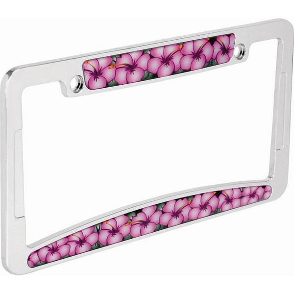 Pink Flower Hibiscus License Plate Frame