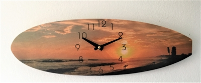 Surfboard Shaped Clock With San Onofre Beach Sunset