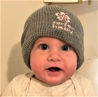 Have you ever put your favorite beanie on your baby and wished someone made a cool one for babies and toddlers too? Gray waffle-weave knit available with pink or blue embroidered logo. Also available with or without a soft, black fleece inner-lining...