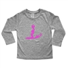 This soft 100% combed cotton infant long sleeve shirt is silkscreened with the cute and cool Cruisin' Girl surfing girl design on the front of the shirt as well as a horizontal Surfer Baby logo on the upper back.