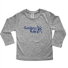 This 100% combed cotton kids long sleeve shirt in is silkscreened with the cool Surfers Rule design on the front and a horizontal surfboard Surfer Baby logo on the back (see example in grey). It comes in heather grey....