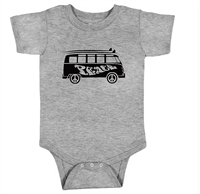 This soft 100% baby rib combed cotton onesie is silkscreened with a cool graphic of vw peace bus van Surfer Baby infant One Piece Bodysuit. Our one pieces feature a lap tee neckline construction for easy on and off, as well as a 3 snap seat...
