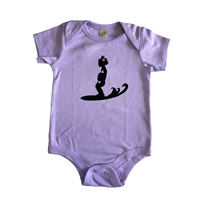 This soft 100% baby rib combed cotton onesie is silkscreened with a cool graphic of a baby girl surfing in the curl. Our one pieces feature a lap tee neckline construction for easy on and off, as well as a 3 snap seat closure. It comes in lavender....