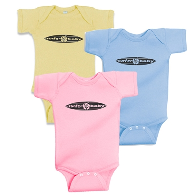 Surfer Baby Horizontal Surfboard Logo One Piece Bodysuit