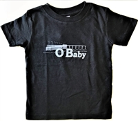 Ocean Beach OB baby and kids black O Baby t shirt