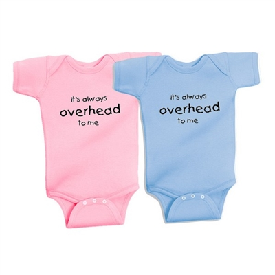 """It's always overhead to me"" One Piece. Available in soft 100% baby rib combed cotton one pieces.  Colors: Blue and Pink. Sizes: 6 mo., 12 mo., and 18 mo...."