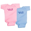 "This soft 100% baby rib combed cotton onesie comes in Blue or Pink. On it is the ""Surfers Drule"" design. Our one pieces feature a lap tee neckline construction for easy on and off, as well as a 3 snap seat closure. Sizes: 6 mos., 12 mos., and 18 mos...."