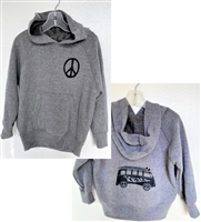 The Surfer Baby brand Surfer Dude zip up hooded sweatshirt is 7.5 oz. 60/40 cotton/polyester fleece with a jersey-lined hood and pouch pockets. It features the Surfer Dude Super soft kids Vw  peace bus pullover sweatshirt